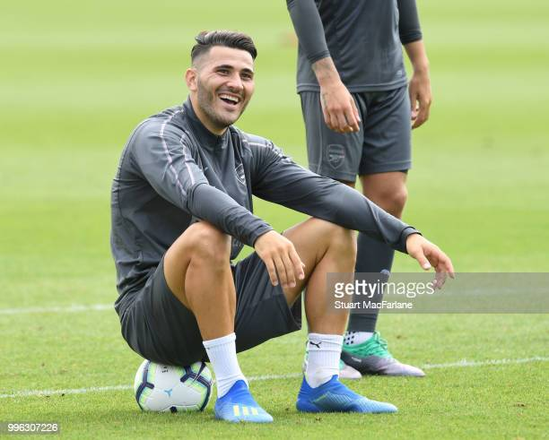 Sead Kolasinac of Arsenal during a training session at London Colney on July 11 2018 in St Albans England