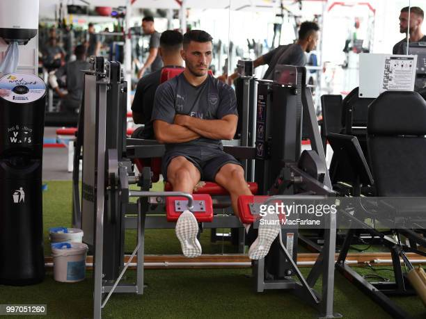 Sead Kolasinac of Arsenal during a training session at London Colney on July 12 2018 in St Albans England