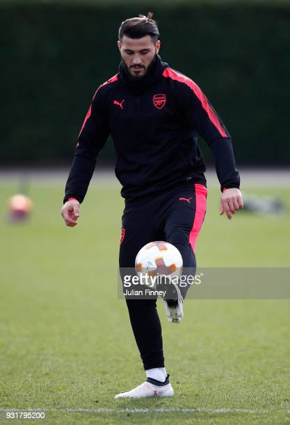 Sead Kolasinac of Arsenal during an Arsenal Training Session ahead of there Europa League 2nd Leg match against AC Milan at London Colney on March 14...