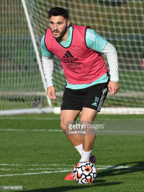 Sead Kolasinac of Arsenal during the Arsenal 1st team training session at London Colney on October 21, 2021 in St Albans, England.