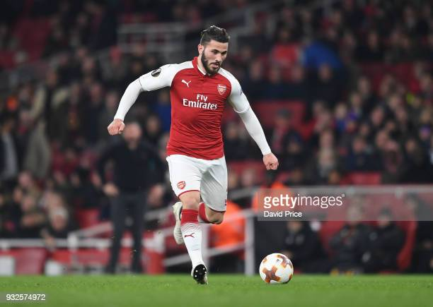 Sead Kolasinac of Arsenal during the match between Arsenal and AC Milan at Emirates Stadium on March 15 2018 in London England