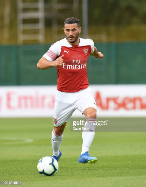 Sead Kolasinac of Arsenal during the match between Arsenal XI and Crawley Town XI at London Colney on July 18 2018 in St Albans England
