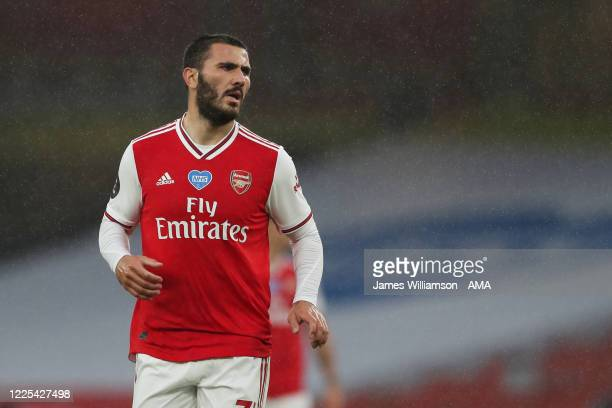 Sead Kolasinac of Arsenal during the Premier League match between Arsenal FC and Leicester City at Emirates Stadium on July 7 2020 in London United...