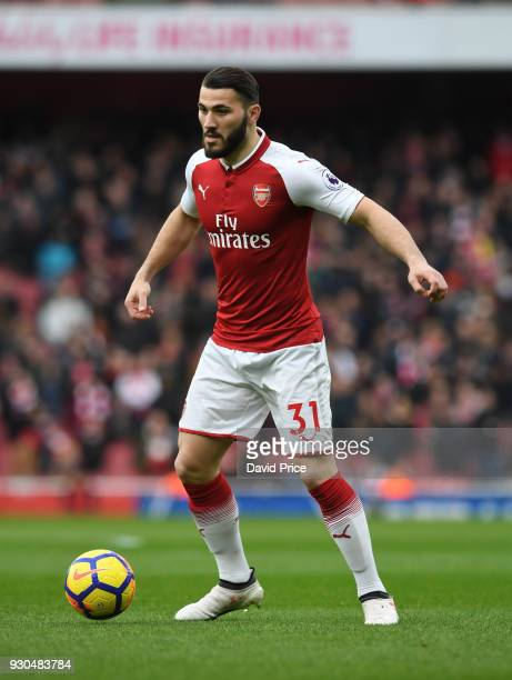 Sead Kolasinac of Arsenal during the Premier League match between Arsenal and Watford at Emirates Stadium on March 11 2018 in London England