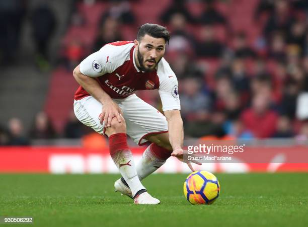 Sead Kolasinac of Arsenal during the Premier League match between Arsenal and Watford at Emirates Stadium on March 10 2018 in London England