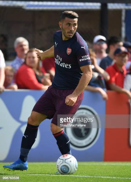 Sead Kolasinac of Arsenal during the preseason friendly between Boreham Wood and Arsenal at Meadow Park on July 14 2018 in Borehamwood England