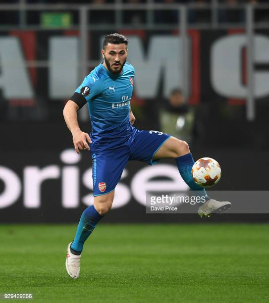 Sead Kolasinac of Arsenal during UEFA Europa League Round of 16 match between AC Milan and Arsenal at the San Siro on March 8 2018 in Milan Italy