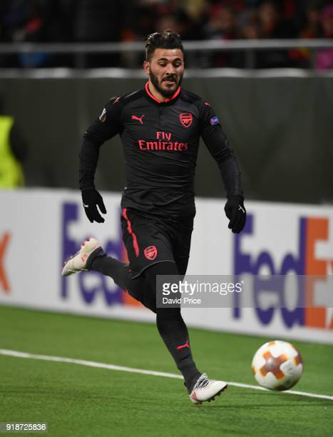 Sead Kolasinac of Arsenal during UEFA Europa League Round of 32 match between Ostersunds FK and Arsenal at the Jamtkraft Arena on February 15 2018 in...