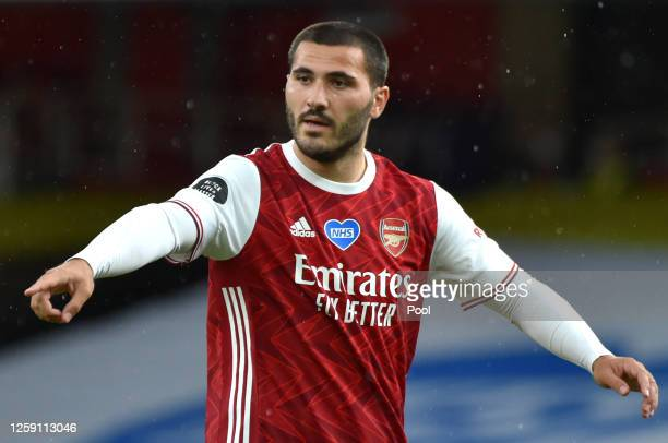 Sead Kolasinac of Arsenal gestures during the Premier League match between Arsenal FC and Watford FC at Emirates Stadium on July 26, 2020 in London,...