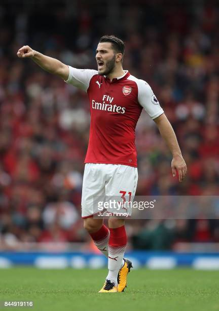 Sead Kolasinac of Arsenal gives intructions during the Premier League match between Arsenal and AFC Bournemouth at Emirates Stadium on September 9...