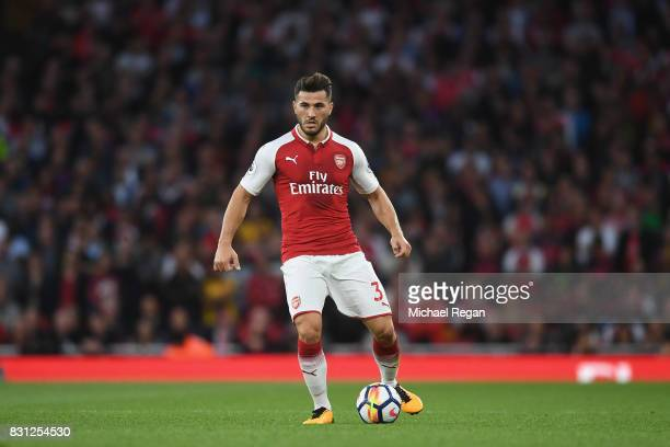 Sead Kolasinac of Arsenal in action during the Premier League match between Arsenal and Leicester City at Emirates Stadium on August 11 2017 in...
