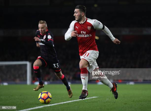 Sead Kolasinac of Arsenal in action during the Premier League match between Arsenal and Huddersfield Town at Emirates Stadium on November 29 2017 in...