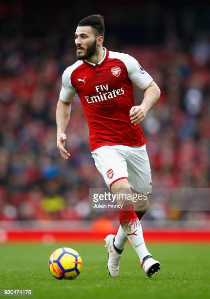 Sead Kolasinac of Arsenal in action during the Premier League match between Arsenal and Watford at Emirates Stadium on March 11 2018 in London England