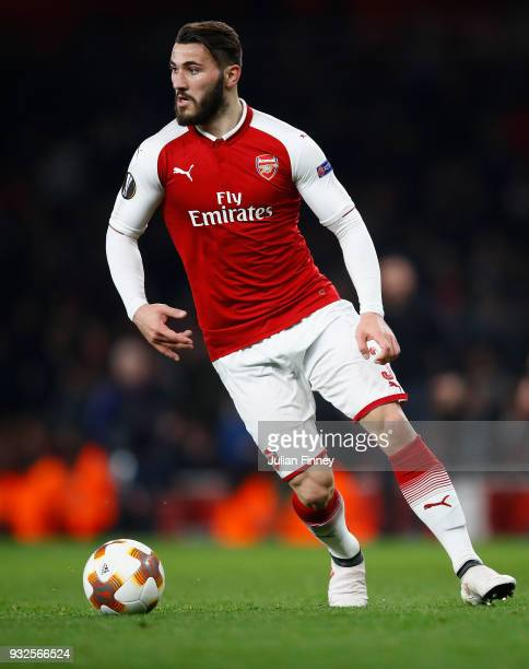 Sead Kolasinac of Arsenal in action during the UEFA Europa League Round of 16 match between Arsenal and AC Milan at Emirates Stadium on March 15 2018...