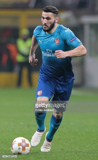 Sead Kolasinac of Arsenal in action during UEFA Europa League Round of 16 match between AC Milan and Arsenal at Stadio Giuseppe Meazza on March 8...
