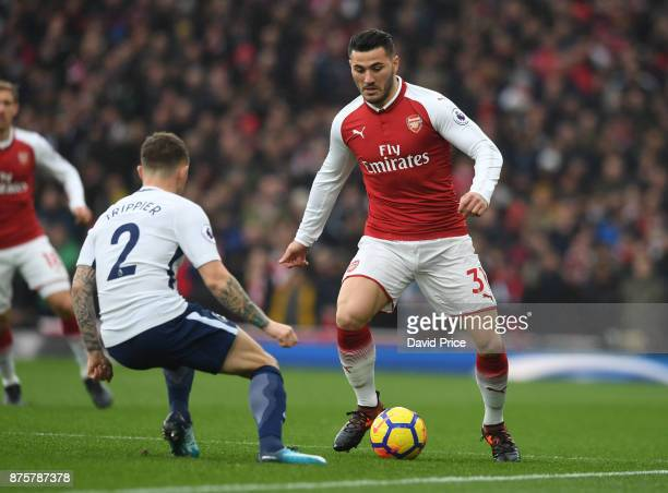 Sead Kolasinac of Arsenal is closed down by Kieran Trippier of Tottenham during the Premier League match between Arsenal and Tottenham Hotspur at...