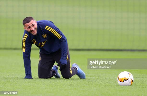 Sead Kolasinac of Arsenal looks on during a Arsenal Training Session at London Colney on February 19, 2020 in St Albans, England.
