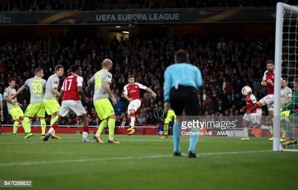 Sead Kolasinac of Arsenal scores a goal to make it 11 during the UEFA Europa League group H match between Arsenal FC and 1 FC Koeln at Emirates...