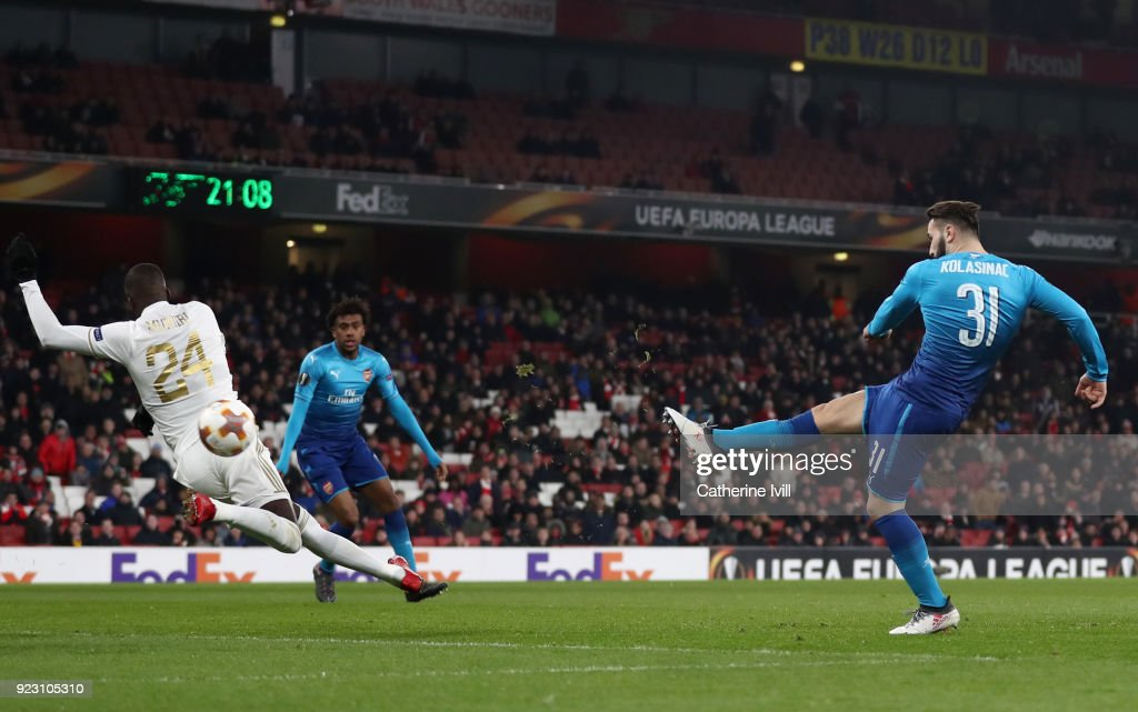 Sead Kolasinac of Arsenal scores the first Arsenal goal during UEFA Europa League Round of 32 match between Arsenal and Ostersunds FK at the Emirates Stadium on February 22, 2018 in London, United Kingdom.