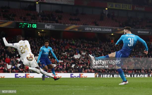 Sead Kolasinac of Arsenal scores the first Arsenal goal during UEFA Europa League Round of 32 match between Arsenal and Ostersunds FK at the Emirates...