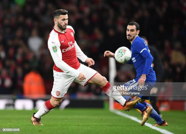 Sead Kolasinac of Arsenal takes on Davide Zappacosta of Chelsea during the Carabao Cup SemiFinal Second Leg between Arsenal and Chelsea at Emirates...