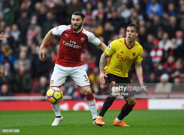 Sead Kolasinac of Arsenal takes on Kiko Femenia of Watford during the Premier League match between Arsenal and Watford at Emirates Stadium on March...