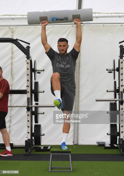 Sead Kolasinac of Arsenal warms up during a training session at London Colney on July 9 2018 in St Albans England