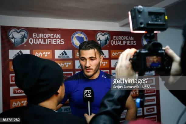Sead Kolasinac of Bosnia gives an interview after the FIFA 2018 World Cup Qualifier between Bosnia and Herzegovina and Belgium at stadium Grbavica on...