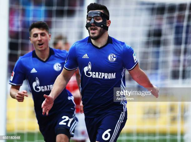 Sead Kolasinac of Schalke 04 celebrates after scoring a goal during the Bundesliga match between 1 FSV Mainz 05 and FC Schalke 04 at Opel Arena on...