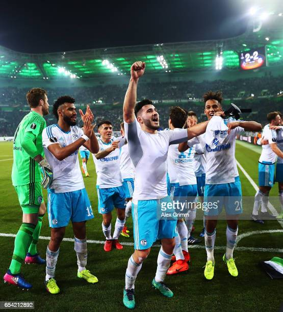 Sead Kolasinac of Schalke 04 celebrates after UEFA Europa League Round of 16 second leg match between Borussia Moenchengladbach and FC Schalke 04 at...