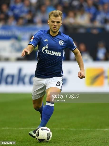 Sead Kolasinac of Schalke in action during the Bundesliga match between FC Schalke 04 and FC Augsburg at VeltinsArena on March 12 2017 in...