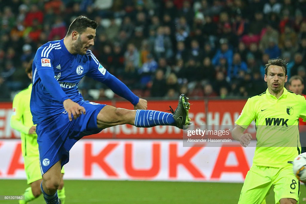 Sead Kolasinac of Schalke scores the first team goal during the Bundesliga match between FC Augsburg and FC Schalke 04 at WWK Arena on December 13, 2015 in Augsburg, Germany.