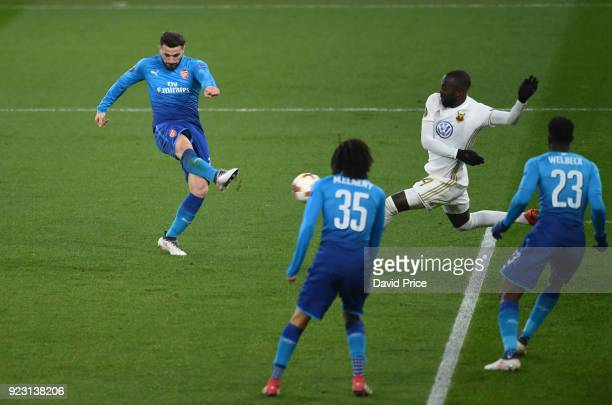 Sead Kolasinac scores Arsenal's goal during UEFA Europa League Round of 32 match between Arsenal and Ostersunds FK at the Emirates Stadium on...