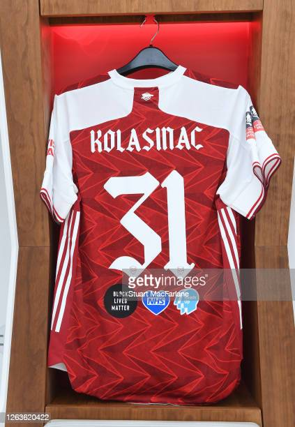 Sead Kolasinac shirt in the Arsenal changing room before the FA Cup Final match between Arsenal and Chelsea at Wembley Stadium on August 01 2020 in...