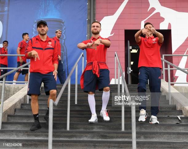 Sead Kolasinac, Shkodran Mustafi and Mesut Oezil of Arsenal before the pre season friendly between Colorado Rapids and Arsenal at Dick's Sporting...