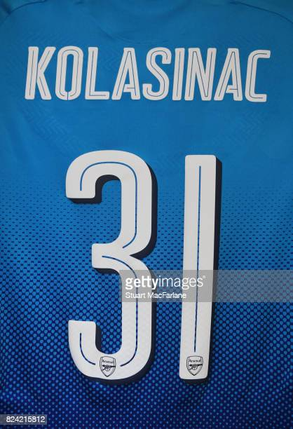 Sead Kolasinac's Arsenal shirt in the home changing room before the Emirates Cup match between Arsenal and SL Benfica at Emirates Stadium on July 29...