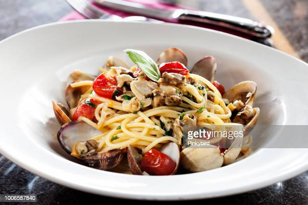 seafood and pasta,sicily,spaghetti - seafood stock pictures, royalty-free photos & images