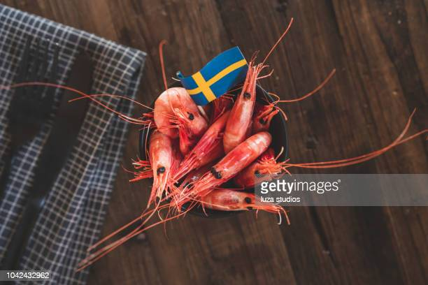Seafood at a traditional Swedish crayfish party