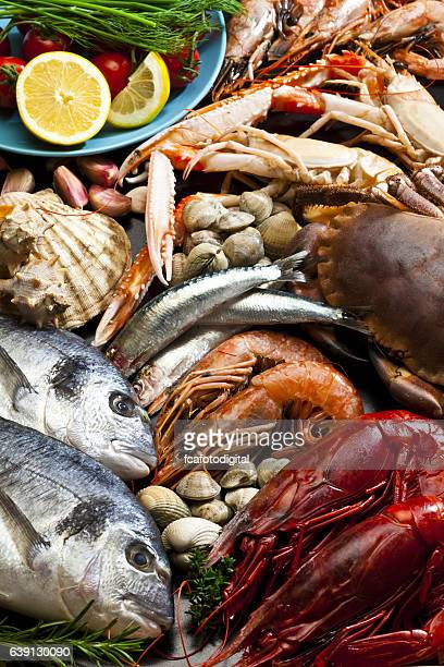 seafood background - seafood stock pictures, royalty-free photos & images