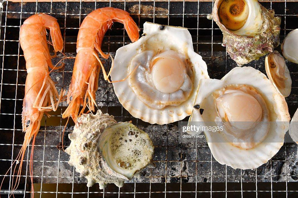 Seafood bar I queue : Stock-Foto