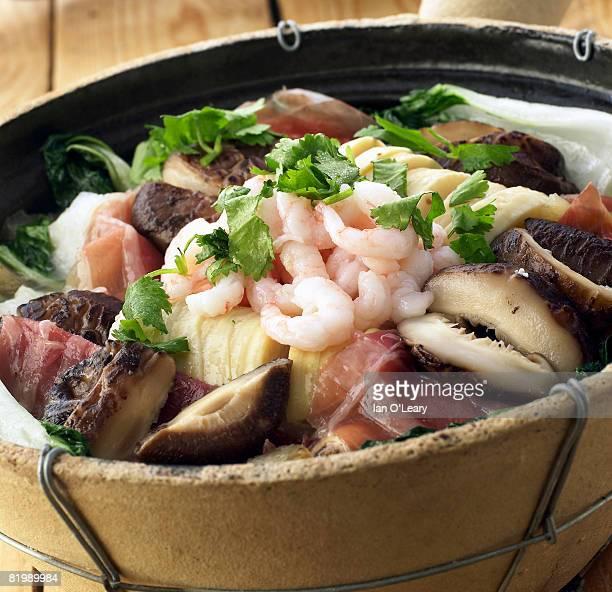 Seafood casserole, close up