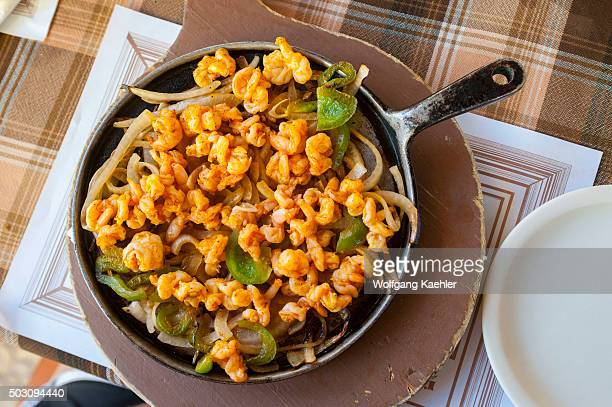 A seafood fajita in a restaurant in San Miguel de Cozumel on Cozumel Island near Cancun in the state of Quintana Roo Yucatan Peninsula Mexico
