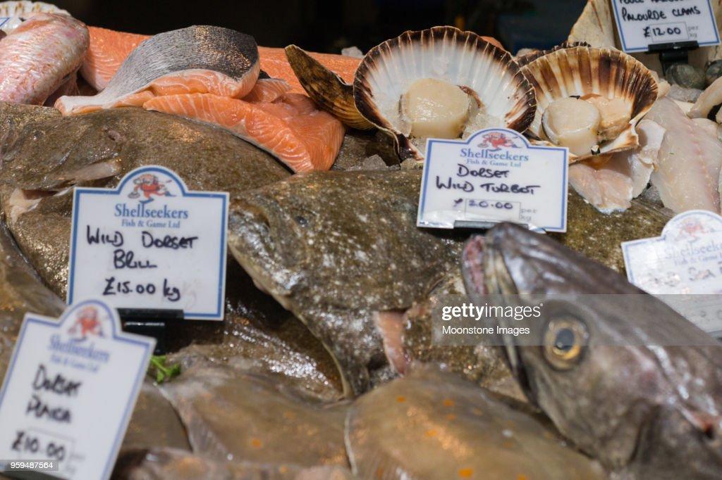 Fisch und Meeresfrüchte in Borough Market, London : Stock-Foto
