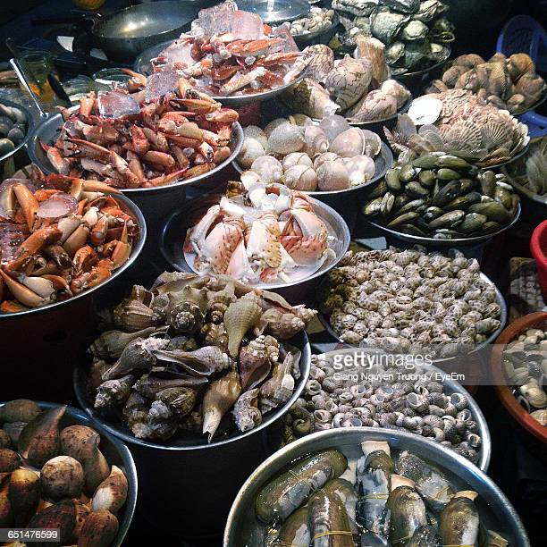 Seafood In Containers At Market Stall