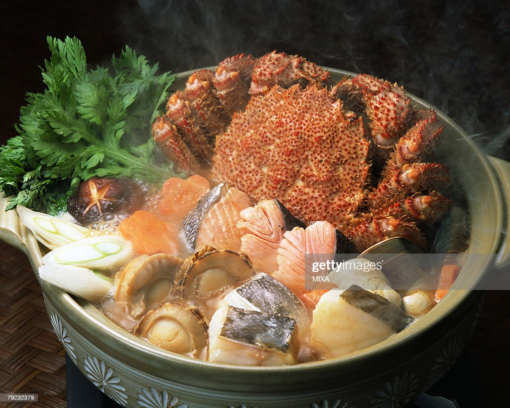 Seafood in pot : Stock Photo