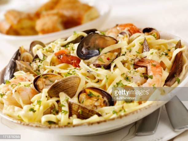 seafood linguini - seafood stock pictures, royalty-free photos & images