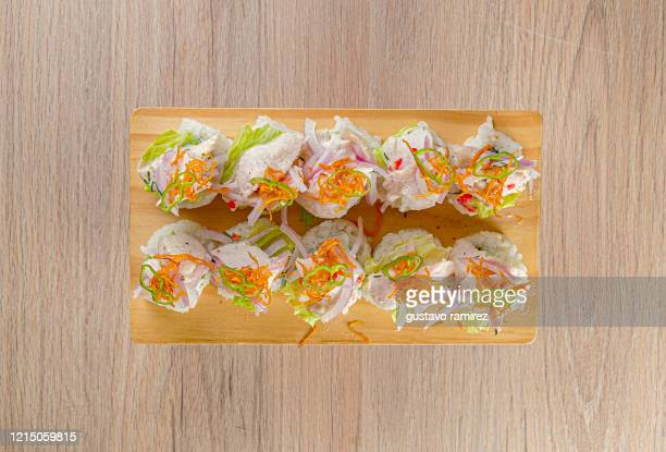 seafood maki cebiche - maki sushi stock pictures, royalty-free photos & images
