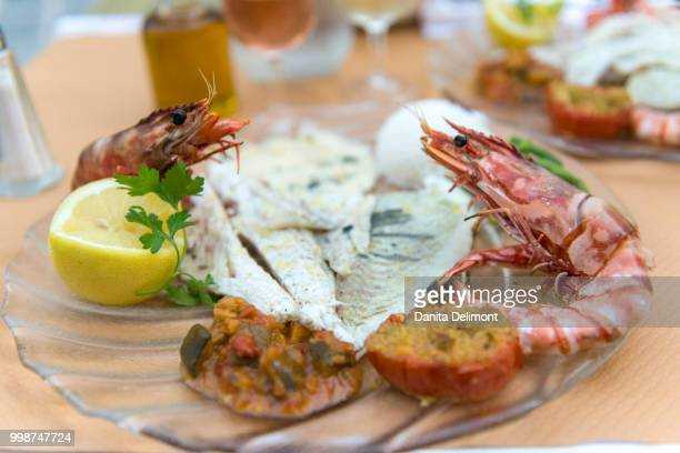 seafood meal, monte carlo, monaco, cote d'azur, france - monte carlo stock pictures, royalty-free photos & images
