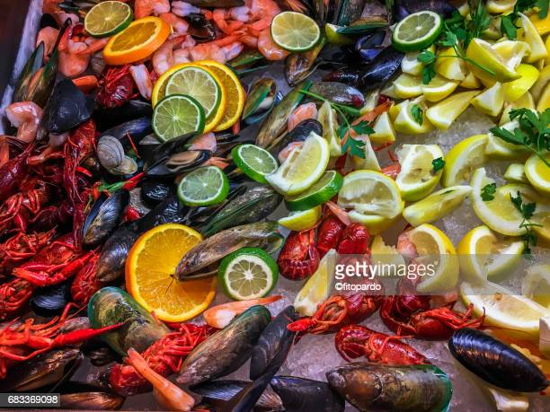 Seafood mix, mussels, lobsters and shrimps
