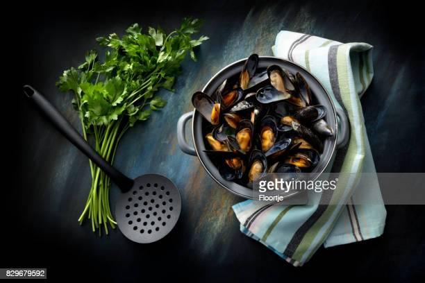 Seafood: Mussels Mariniere Still Life